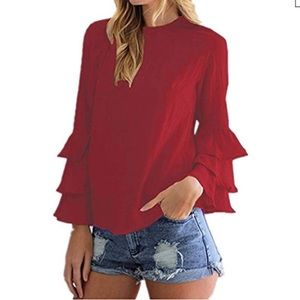 STYLEDOME FLOUNCE RUFFLE SLEEVES VALENTINES DAY
